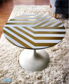 Use TapeManBlue's #BluePaintersTape to make this #DIY gold pattern on any furniture!