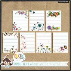 Free Floral Lined Journal Cards from Nerdy Scrappers Studio