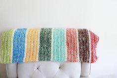 Double Strand Scrap Blanket   This stashbusting blanket is a mindless and colorful pattern to use up your yarn scraps. All Free Crochet, Easy Crochet, Beginner Crochet, Crochet Baby, Afghan Crochet Patterns, Crochet Afghans, Knitting Patterns, Crochet For Beginners Blanket, Half Double Crochet