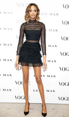 Jourdan Dunn wearing a Self Portrait black lace mini dress.