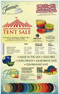 Fiesta Dinnerware - Columbus, Ohio Tent Sale! Sept. 15-18, 2016. Click to learn more on the Fiesta blog at www.alwaysfestive.com.