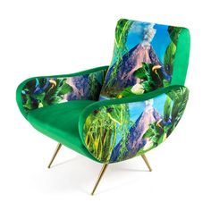 Volcano Armchair Lush green chair with volanco and forest scene Comfy Armchair, Modern Armchair, Blue Armchair, Kids Recliner Chair, Swivel Chair, Small Chair For Bedroom, Adirondack Chair Cushions, Mid Century Armchair, Patterned Armchair