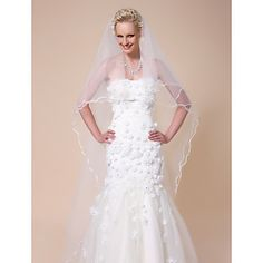 One-tier Cathedral Wedding Veils With Pencil Edge – USD $ 29.99
