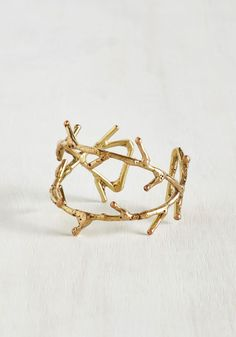 What's the Sprig Idea? Bracelet. When you add this golden cuff bracelet to you ensemble, friends can hardly stand how cute you look! #gold #modcloth