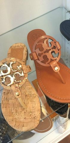 Tory Burch Logo Sandals | LBV ♥✤ (my favorite go-to slip ons)