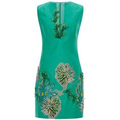 Blumarine Green Dahlia Embroidery Dress (€1.805) ❤ liked on Polyvore featuring dresses, blumarine, short dress, платья, green multi, green a line dress, floral a line dress, mini dress, embroidered dress and floral mini dress