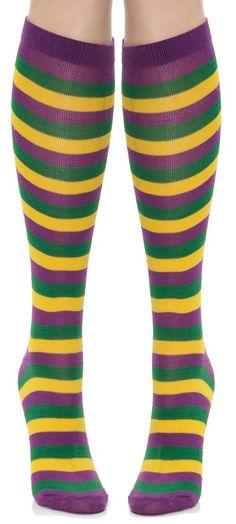 Mardi Gras Colors Costume Knee Socks