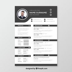 Black and white resume template Free Vec. Creative Cv Template, Resume Design Template, Online Cv Template, Beau Cv, Curriculum Vitae Template Free, Portfolio Design Books, Job Application Template, Cv Inspiration, Microsoft Word Free