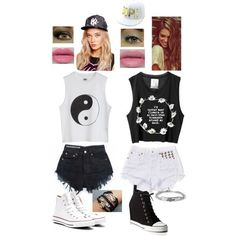 A fashion look from August 2013 featuring DKNY sneakers, Converse sneakers and Forever 21 bracelets. Browse and shop related looks. Twin Outfits, Teen Fashion Outfits, Matching Outfits, Outfits For Teens, Summer Outfits, White Outfits, Bff Shirts, Jugend Mode Outfits, Best Friend Outfits