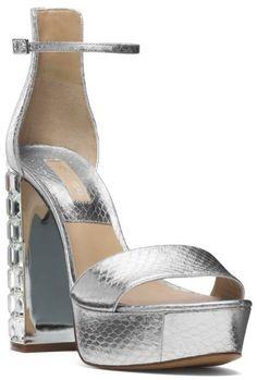 Michael Kors Nikki Metallic Snakeskin Platform Sandal
