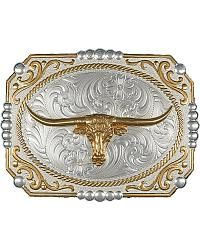Montana Silversmiths Two-Tone Cowboy Cameo with Longhorn Buckle - Sheplers