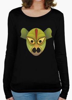 Camiseta manga larga mujer Mascara demonio pajaro