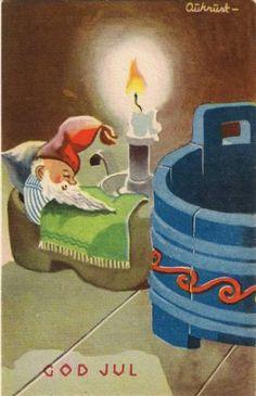 AUKRUST - Vintage Christmas Cards, Christmas Greeting Cards, Christmas Art, Christmas Greetings, Vintage Cards, Christmas Decorations, Christmas Postcards, Norwegian Christmas, Scandinavian Christmas