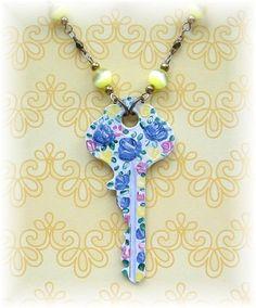 Chintz Style Painted Roses Key Necklace