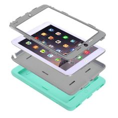 iPad Mini 2/3 Case - Grey / Mint Green iPad Mini Case, Fashionable 2in1 Hybrid Protective Heavy Duty Protection Shock-absorption Impact Resistant Case For Pad Mini 2/3 Case - Grey / Mint Green Roke Accessories Tablet Cases