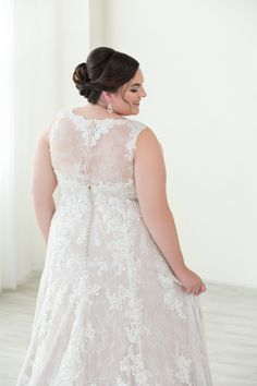 Plus Size Wedding Gowns · Lace aline wedding dress with straps and a  delicately covered lace back. Illusion and button 23c74dc3e91d