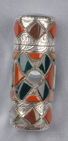 Victorian Sterling Silver and Scottish Agate Perfume | Sale Number 2510, Lot Number 90 | Skinner Auctioneers $1,185.00 Birmingham - possibly 1889 in original case lead stopper rather than rock crystal