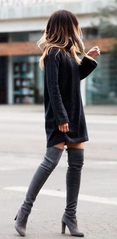 #winter #outfits gray suede thigh-high chunky-heeled boots
