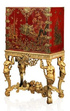 A Period William III Parcel-Gilt Scarlet-Japanned & Brass-Mounted Cabinet On a Giltwood Stand, English, circa 1690 Oriental Furniture, European Furniture, Antique Furniture, Painted Furniture, Furniture Design, French Furniture, Furniture Storage, Industrial Furniture, Rustic Furniture
