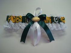NFL Green Bay Packers white lace Wedding Garter set any size color or style. $11.99, via Etsy.