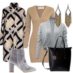 Un outfit pratico e allo stesso tempo elegante adatto per l'ufficio, così come per una serata. Cappotto beige, fantasia multicolore, flanella, cintura, collo alto, monopetto, automatici, multitasche, abbinato a vestito beige, slim fit, di linea essenziale, profondo scollo a v. Semplice bolero grigio, boot grigio, in velluto, tacco largo, punta tonda; pratica e capiente shopper nera, orecchini pendenti.