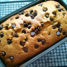 Pumpkin chocolate chip bread- finally a recipe WITHOUT 3 cups of sugar - sub apple sauce for sour cream