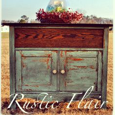 """Washstand done in Miss Mustard Seed's """"Kitchen Scale"""" Milk Paint  www.facebook.com/rusticflair"""