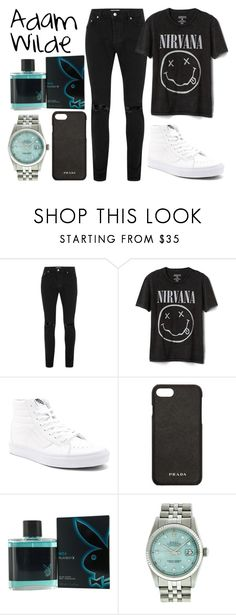"""Adam Wilde"" by misshemmings96 ❤ liked on Polyvore featuring Topman, Gap, Vans, Prada, Playboy, Rolex, men's fashion and menswear"
