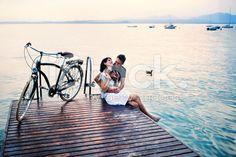 couple having fun on vacation at the lake royalty-free stock photo