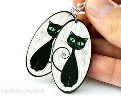Cat Brincos Oval Black & White Dangle Jóias 2 faces, presente para ela com menos de 25 (C3)