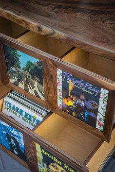 Record player stand with vinyl record storage display cabinet
