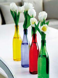 En botellas de colores