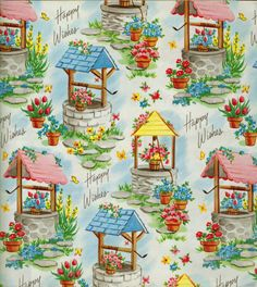 Wishing wells; vintage wrapping paper.