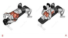 Photo about Link dumbbells from behind the head. Exercising for bodybuilding Target muscles are marked in red. Initial and final steps. Illustration of exercising, target, dumbbells - 43722841 Gym Chest Workout, Sixpack Workout, Chest Workouts, Dumbbell Workout, Chest Exercises, Deltoid Workout, Fitness Workouts, Gym Workout Tips, Fitness Tips