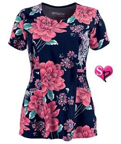Grey's Anatomy Signature Lucia Print Scrub Top Style # GA2127LC  #uniformadvantage #uascrubs #scrubs #fashionscrubs