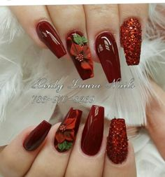 In order to provide some inspirations for nails red colors for your long nails in this winter, we have specially collected more than 80 images of red nails art designs. Xmas Nails, Holiday Nails, Christmas Nails, Fall Nails, Long Nail Art, Red Nail Art, Fabulous Nails, Gorgeous Nails, Wine Nails