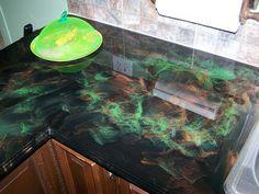 Black, copper and translucent green