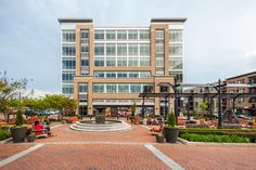 The Park Potomac Building D is a beautiful project with a gorgeous patio setting using Glen-Gery Oyster Grey and Cedar Ridge brick #greybrick #glengery #tanbrick #brickpatio