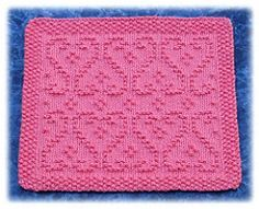 Ravelry: Scrolled Hearts Dishcloth pattern by Rachel van Schie Knitted Washcloth Patterns, Knitted Washcloths, Dishcloth Knitting Patterns, Crochet Dishcloths, Loom Knitting, Knit Or Crochet, Knitting Stitches, Free Knitting, Knit Patterns