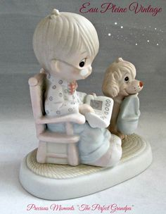 Precious Moments PM The Perfect Grandpa Enesco Imports Jonathan and David 1981 Precious Moments Quotes, Precious Moments Figurines, Vintage Crafts, Vintage Items, Vintage Friends, Sculptures, In This Moment, Online Friends, Antiques