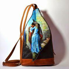 Hanùl Style Blog | Borse e  accessori dipinti a mano: BACIO DI HAYEZ SU MORBIDO E COMODO ZAINETTO IN PEL...