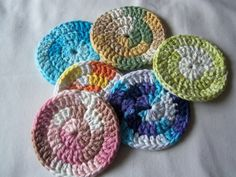 Six Assorted Crochet Scrubbies. Starting at $2 on Tophatter.com On sale tomorrow at: http://tophatter.com/auctions/18530?campaign=future=internal