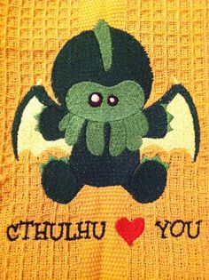 Cthulhu Loves You Geek Custom Embroidered Kitchen Dish Towel. $9.99, via Etsy.