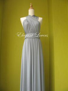 Grey Bridesmaid Dress Ball Gown Floor Length Prom Dress Convertible Dress Infinity Dress Wrap Evening Maxi Dress Wedding Day Wear Dress