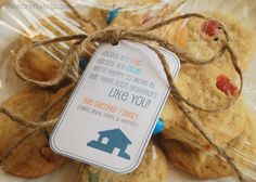 A printable tag to put on a small gift for neighbors. This is a perfect way to meet neighbors after you've just moved in! It reads: Houses are red, Houses are blue, We're happy to move in, And have good neighbors like you!