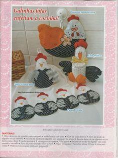 Eu Amo Artesanato: Kit para cozinha: moldes de galinhas, pano de prato, trilho de mesa, puxa saco, luva