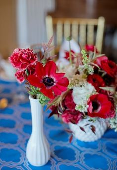 Red Wedding Floral Centerpiece, red poppy wedding centerpiece, milk glass centerpiece