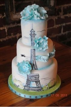 Painted Eiffel tower Cake