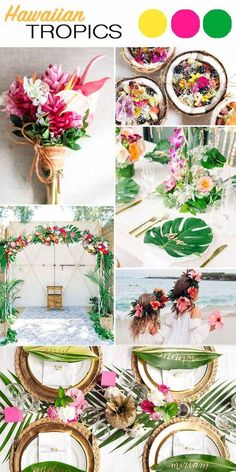 Tropical beach wedding decoration and color inspiration - green palms, white and pink flowers. I love the table setting, name cards/place cards, and that bouquet!!