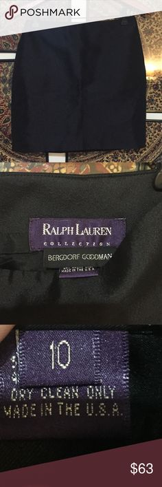 """Ralph Lauren Bergdorf Goodman Black Mini Size 10 Ralph Lauren Collection Bergdorf Goodman black mini skirt with back Zipper, size 10, 52% wool 48% silk. All measurements are approximate 30"""" waist & 18"""" length. Dry Clean Only. Made in USA. Ralph Lauren Purple Label Skirts Mini"""